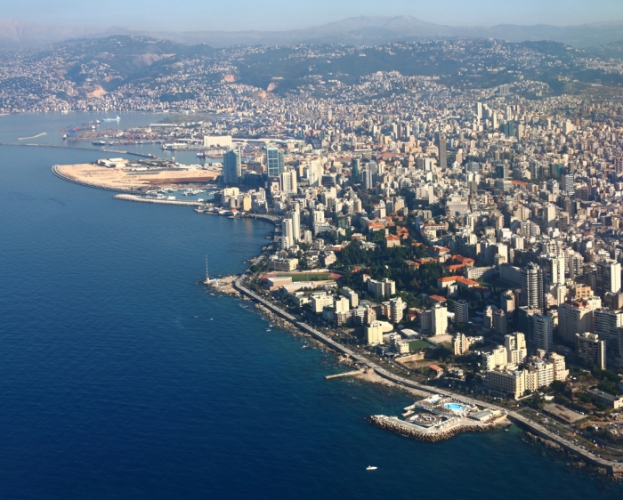 My school was somewhere a little to the right and up of the swimming pool in the bottom right corner. The swimming pool seems new. In fact, other than the red-tile roofs of the American University of Beirut and the mountains it all seems new.